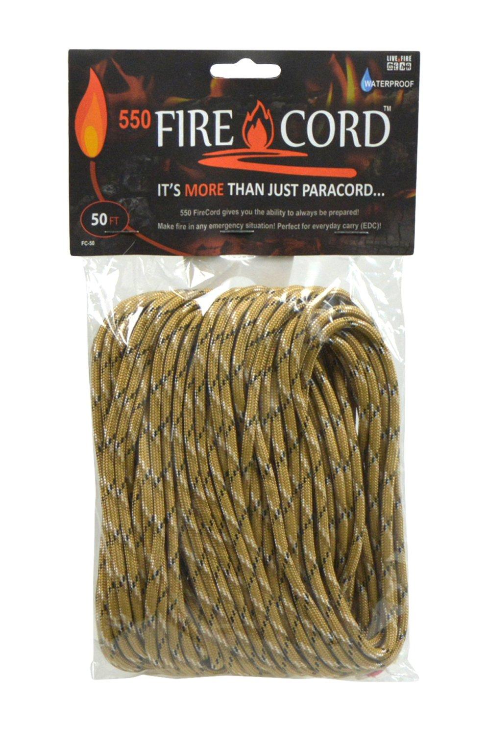 (ライブファイヤーギア) Live Fire Gear ファイヤコード 着火剤になる紐 550パラコード B00R8N4HA6 100ft|デザートストームカモ デザートストームカモ 100ft