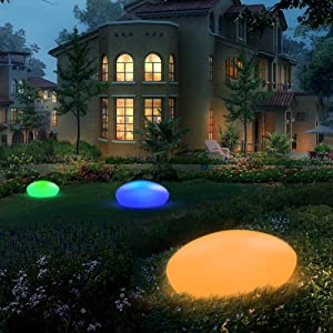 Blibly Solar Garden Lights Outdoor Glow Cobblestone Shape Garden Decor Light-White & RGB Lights Waterproof Landscape Night Lights for Lawn/Patio/Pathway/Garden Paths/Landscape Pool/Swimming Pool