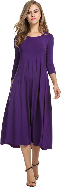 HOTOUCH Damen Kleid Tunika Casual Mi Lange Griff 3/4Uni Rundhals