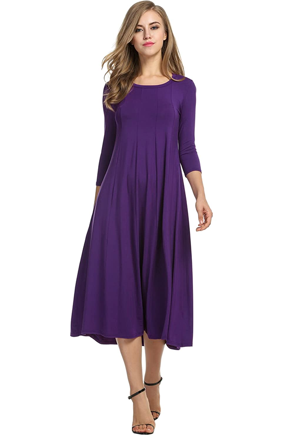 HOTOUCH Women's 3/4 Sleeve A-line and Flare Midi Long Dress AMH005140
