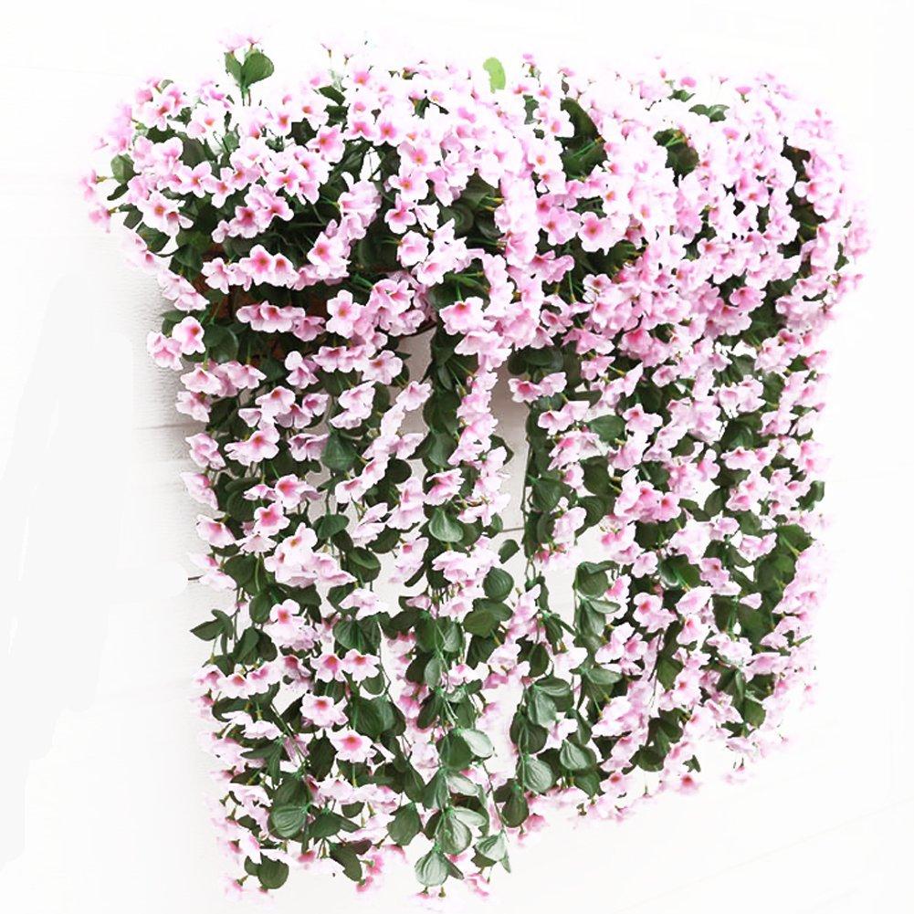 Fanova 5 Stück kunstpflanzen hängend Kunstblumen Veilchen Girlanden Dekor für Haus Hochzeit Garten