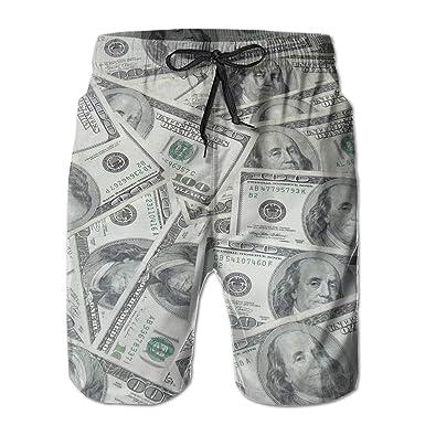 002e646f72 Mens Cool USA Dollar Bill Swim Trunks Drawstring Elastic Waist Surfing  Beach Board Shorts with Mesh