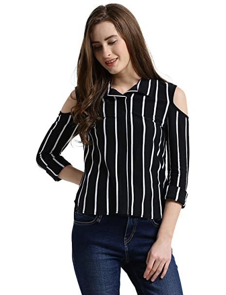 23de9cee3d606 TEXCO Women Black   White Striped Cold Shoulder Full Sleeves Shirt ...