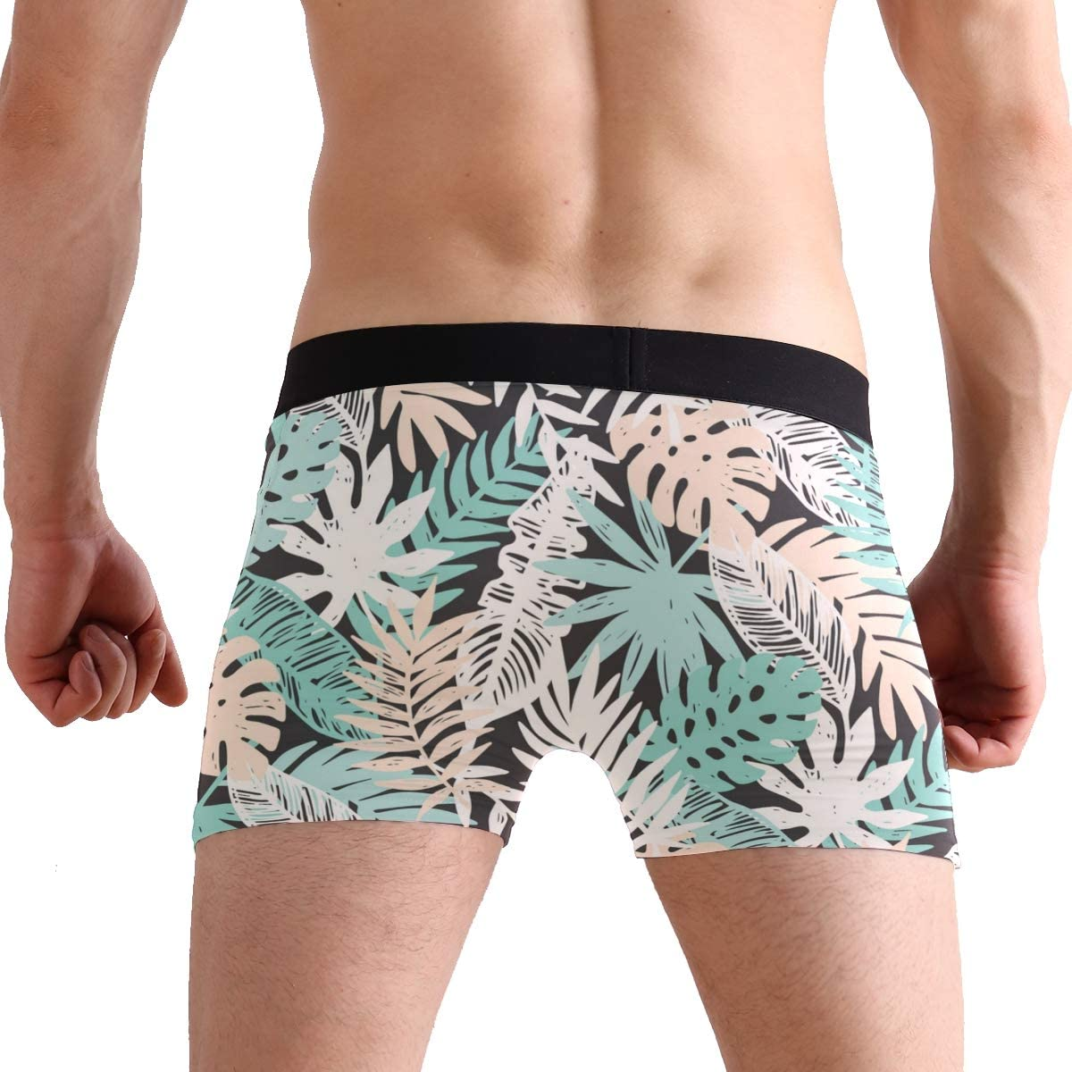 SUABO Mens 2-Pack Boxer Briefs Polyester Underwear Trunk Underwear with Tropical Leaves Design