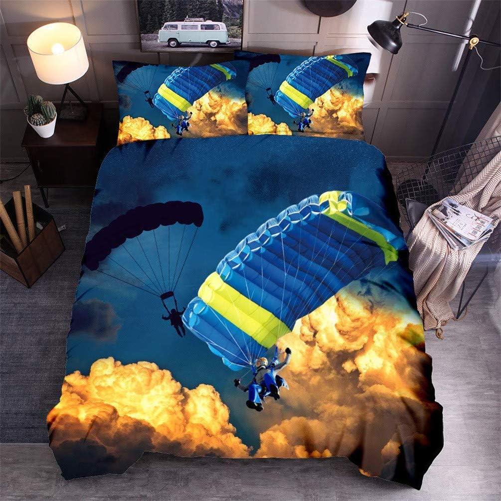 Moto DCWE Parure de lit en Microfibre avec Housse de Couette et taie doreiller Motif Voiture de Course Fibre de Polyester 135 * 200CM