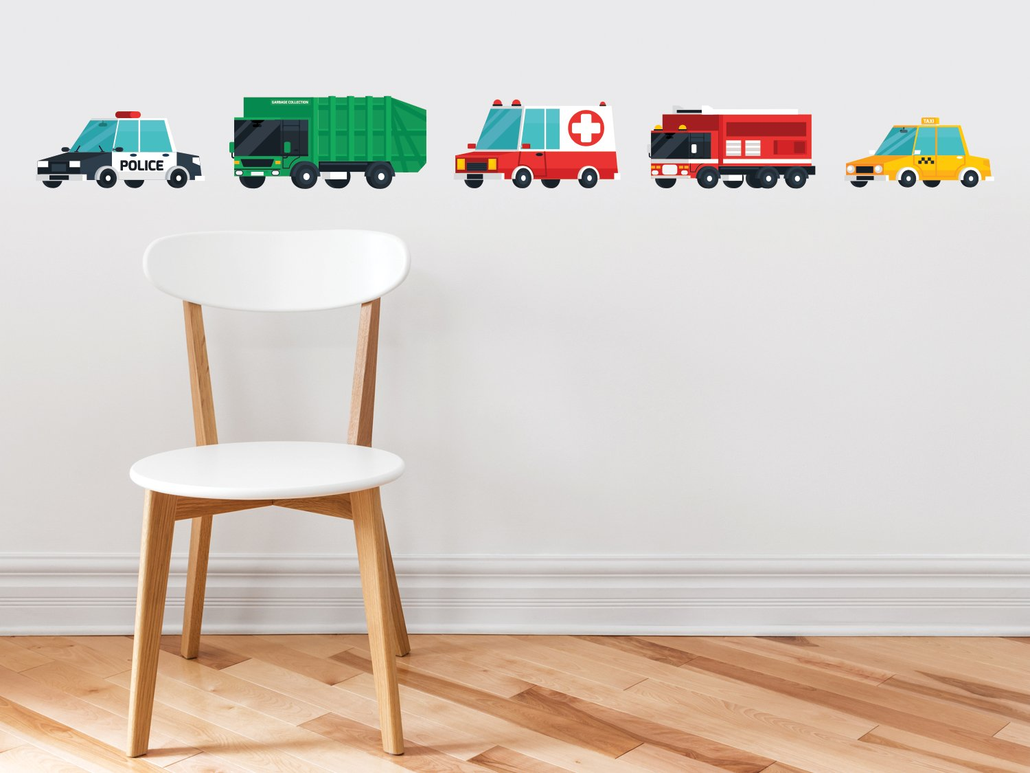Transports Fabric Wall Decal, Set of 5 Emergency Rescue Vehicles and City Trucks, Transportation Wall Decor with Police Car, Garbage Truck, Ambulance, Fire Truck, and Taxi, Non Toxic and Reusable