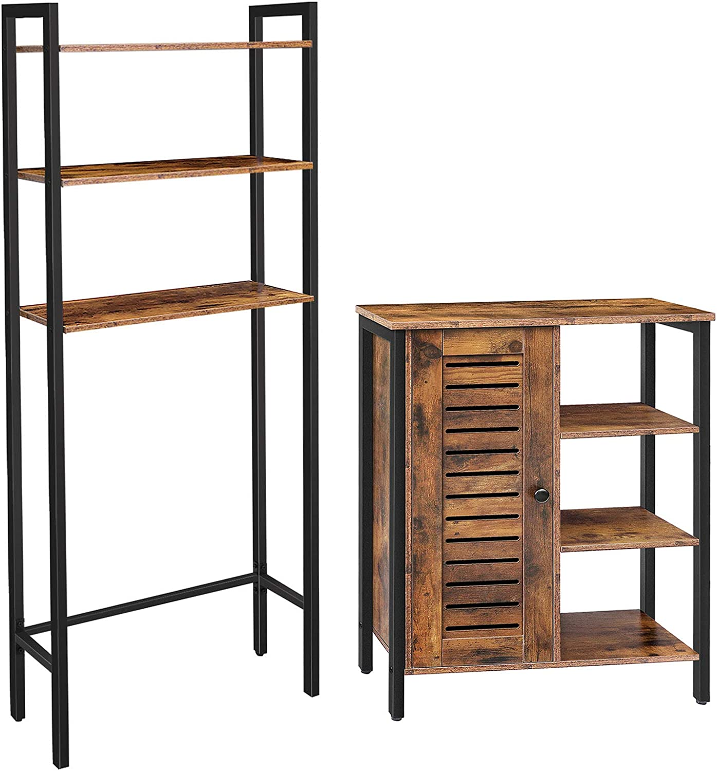 2 Hidden Adjustable Shelves 3 Open Shelves Side Cabinet 3-Tier Over-The-Toilet Cabinet Bathroom Space Saver with Multi-Functional,Rustic Brown HOOBRO Toilet Storage Rack and Storage Cabinet Bundle