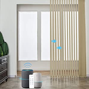 Graywind Motorized Half Shading Vertical Blinds Compatible with Alexa Google Privacy Reversible Smart Vertical Blind Remote Control Track Slats Set for Patio Sliding Doors No Valance, Textured Khaki
