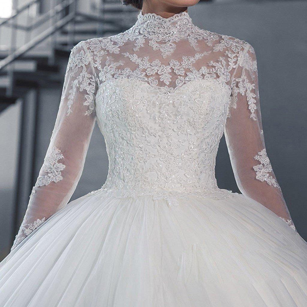 Yuxin High Neck Long Sleeves Wedding Dress Lace Ball Gown Wedding ...