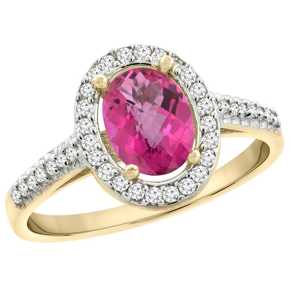 10K Yellow Gold Natural Pink Topaz Engagement Ring Oval 7x5 mm ...