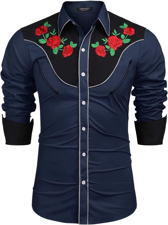 Coofandy - Camiseta de Manga Larga para Hombre, diseño de Rosas Bordadas
