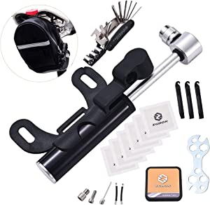 UILB Multi-Function Bike Bicycle Cycling Mechanic Repair Tool Kits with 16-in-1, Bicycle Saddle Bag, Mini Bike Pump 120 PSI & Glue-Less Puncture Kit, Mechanic Portable Tools Bag with All in one