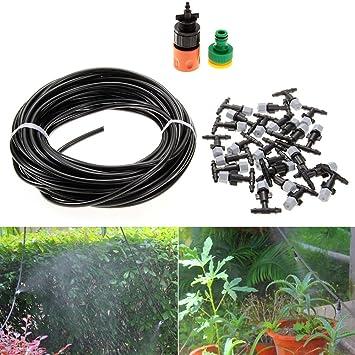 Al aire libre sistema de riego de enfriamiento Mist Boquilla de tubo de formación de plantas para dispensador de agua, 15 m: Amazon.es: Jardín