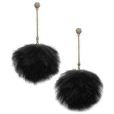 b990fd633 Amazon.com: Betsey Johnson xox Trolls Pom-Pom Dangle Earrings, Black & Gold- Tone: Jewelry