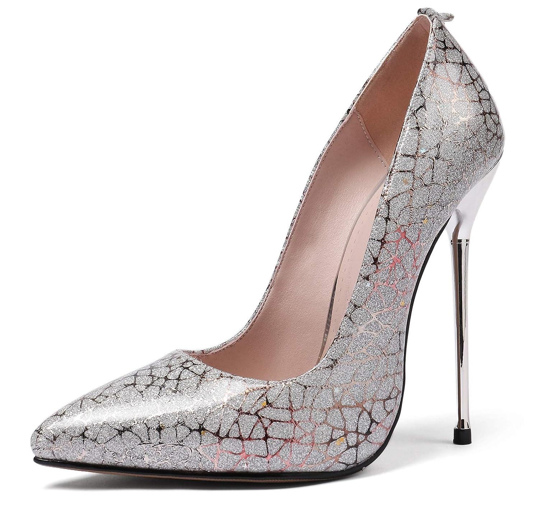 Charmstep Damen Spitzen Patent Pumps Stiletto High Heels Pumps Party Hochzeitsschuhe MR1523