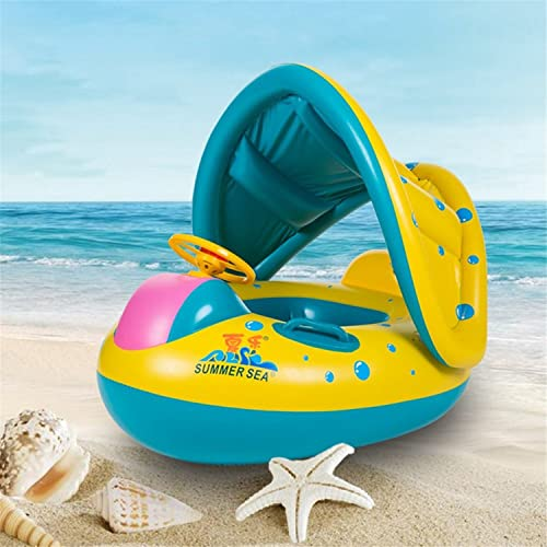 FuXing Swimming Ring for Baby Inflatable Swim Float Boat with Seat and Adjustable Sunshade for Baby Kids Children