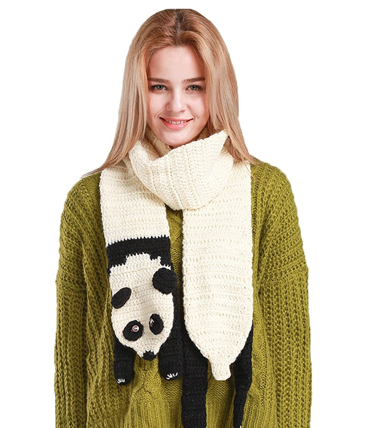 Women's Vivid Animals Scarf Myosotis510 Girls Cute Cable Knit Warm Long Scarves