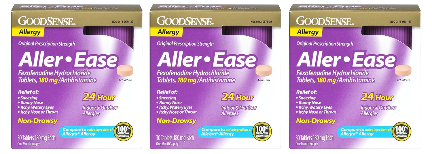 GoodSense Aller-Ease upjOv Fexofenadine Hydrochloride Tablets, 180 mg/Antihistamine, 30 Count (3 Pack) by Good Sense
