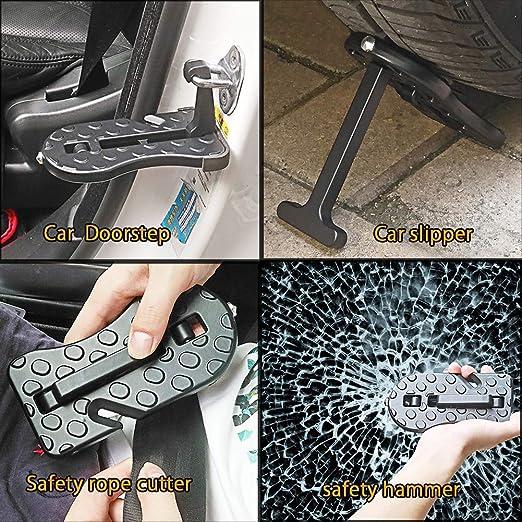 Fuoristrada Facile da Usare Bagaglio sul Tetto Car Door Step Roof Pieghevole scaletta Gancio a Forma di U Martello di Sicurezza Serratura SUV