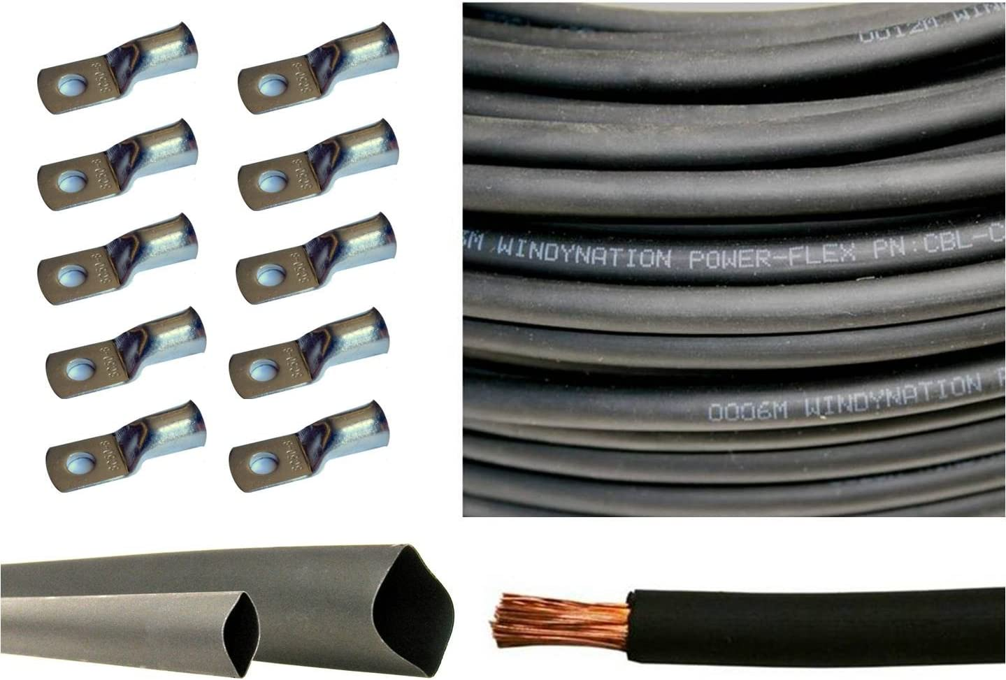6 Gauge 6 AWG 25 Feet Black Welding Battery Pure Copper Flexible Cable 10pcs of 3//8 Tinned Copper Cable Lug Terminal Connectors 3 Feet Black Heat Shrink Tubing
