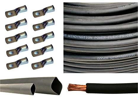 6 Gauge 6 AWG 40 Feet Black Welding Battery Pure Copper Flexible Cable + 10pcs of