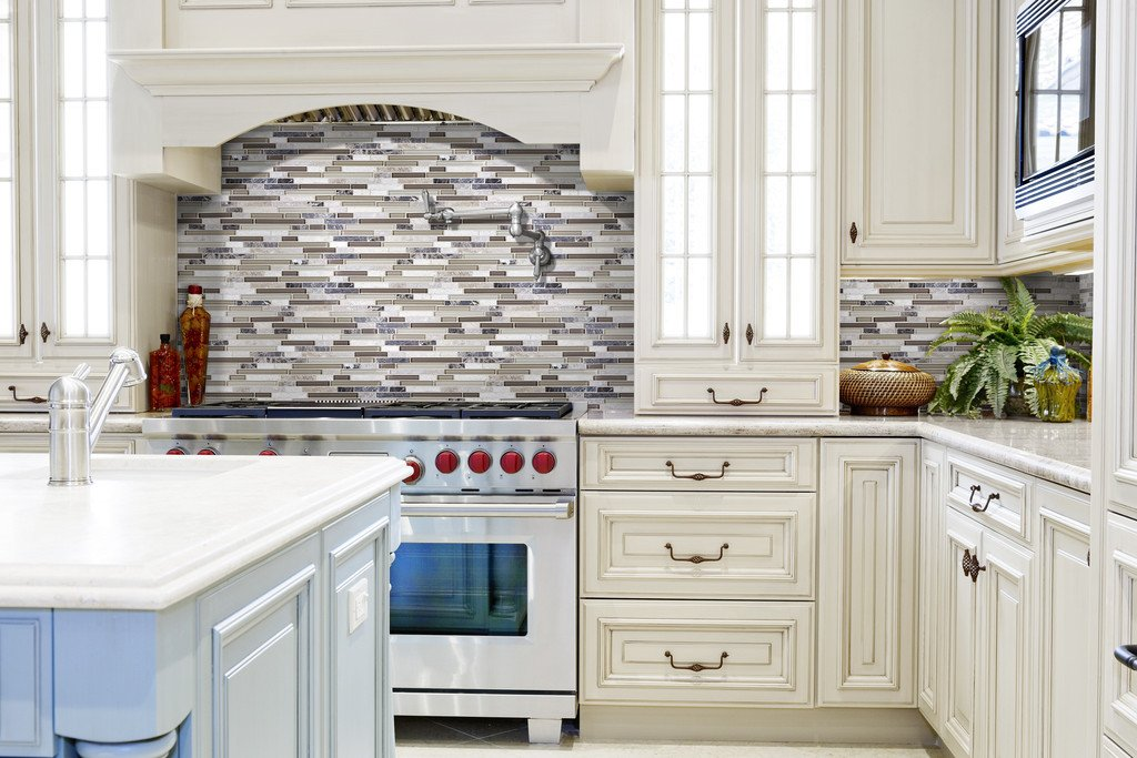 10 Sq Ft - Bliss Cappucino Stone and Glass Linear Mosaic Tiles- bathroom walls/ kitchen backsplash by Rocky Point Tile