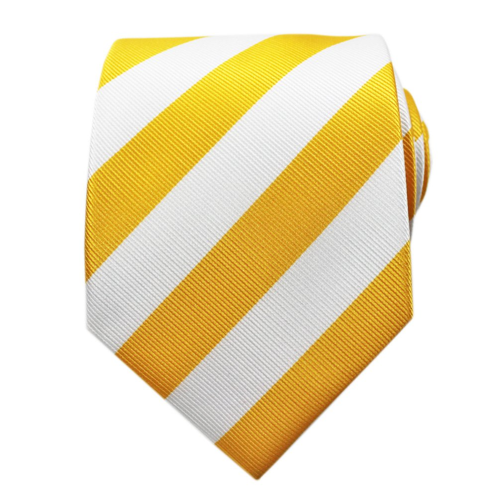 Bestow Yellow & White Striped Tie   College Ties