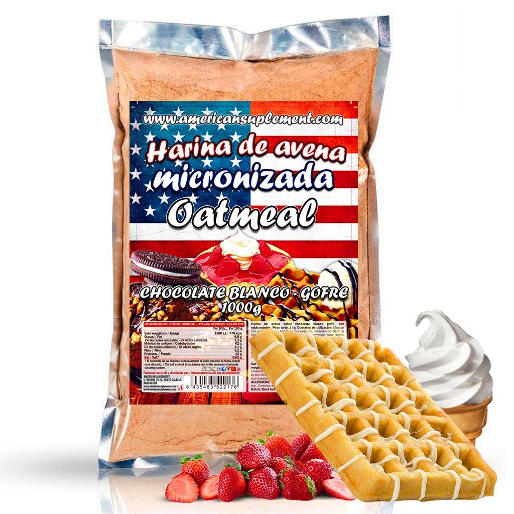 American Suplement -Harina de Avena Micronizada - 1kg (CHOCOLATE BLANCO CON GOFRE): Amazon.es: Salud y cuidado personal