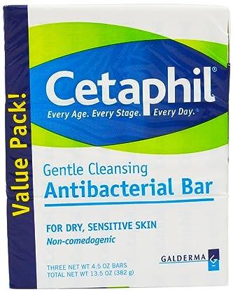 Cetaphil Antibacterial Gentle Cleansing Bar, 4.5 O…