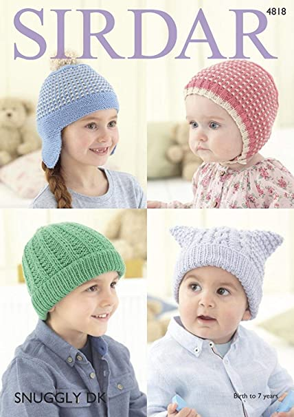 ee311fa351b Sirdar 4818 Knitting Pattern Baby Childrens Hats in Sirdar Snuggly DK   Amazon.co.uk  Kitchen   Home