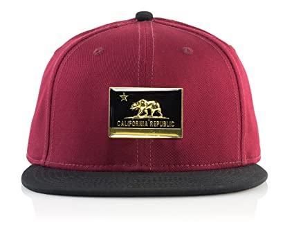 new style a3cf5 d3d94 Official Crown Headwear Unisex-Adult s California Bear Metal Patch 6 Panel  Snapback Baseball Cap,