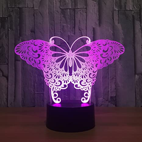 Butterfly 3D Touch Optical ILLusion Night Light Stunning Visual  Three Dimensional Effect 7 Colors Changing