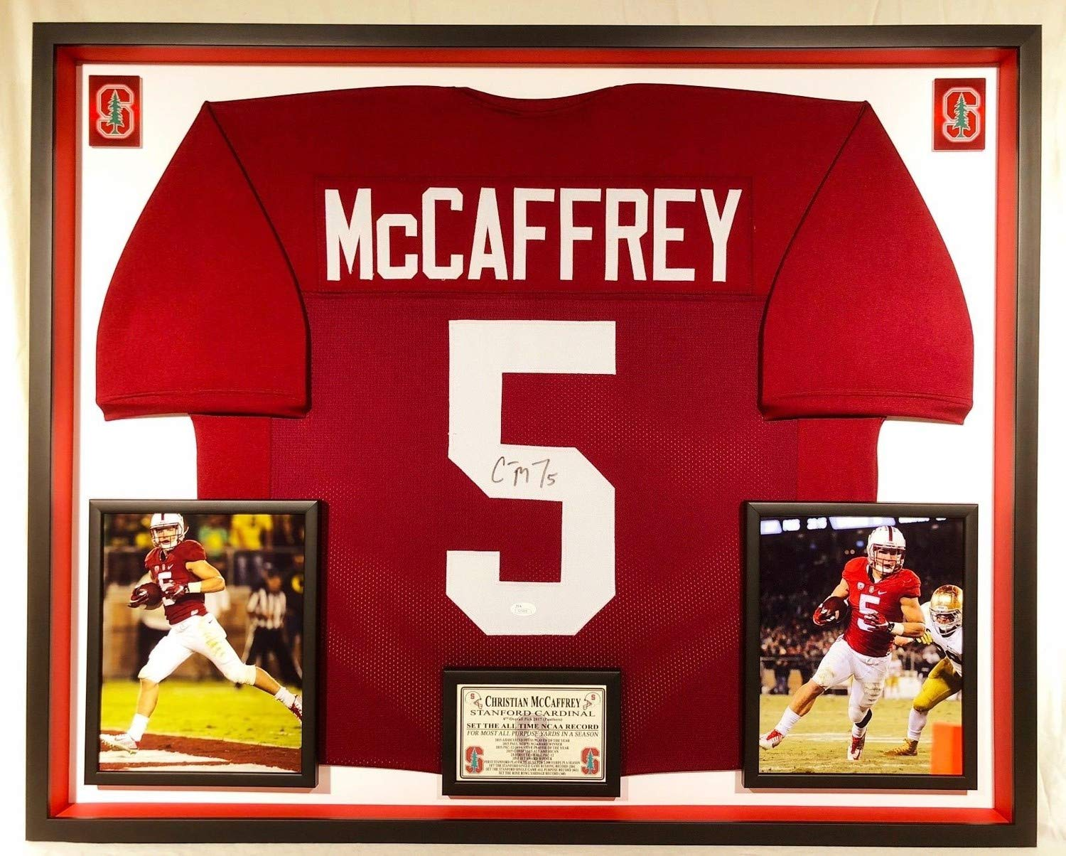 e13a7702837 Christian Mccaffrey Autographed Signed Custom Framed Stanford Cardinal  Jersey Memorabilia - JSA Authentic at Amazon's Sports Collectibles Store