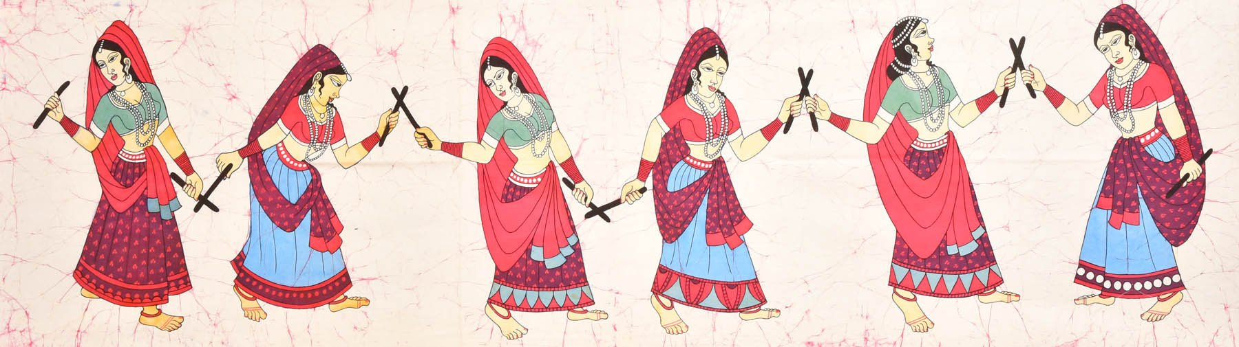 Daandia Raas - Folk Dance Of Gujarat - Batik Painting On Cotton