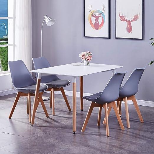 Juego de mesa y sillas de comedor de GOLDFAN, 4 sillas y mesa ...