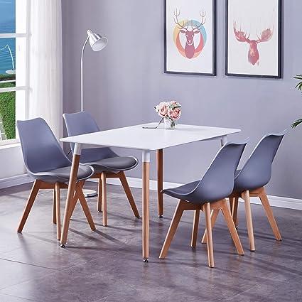 GOLDFAN Set Tavolo da Pranzo e sedie 4 Moderno Rettangolare ...