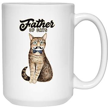 Taza de café con diseño de padre de gatos, regalo personalizado para amantes de las mascotas, cerámica, blanco, 2-15oz: Amazon.es: Hogar