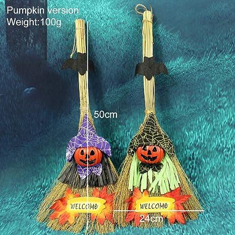 WSJDE Decoración de Halloween Escoba de Bruja Colgante Adornos de ...