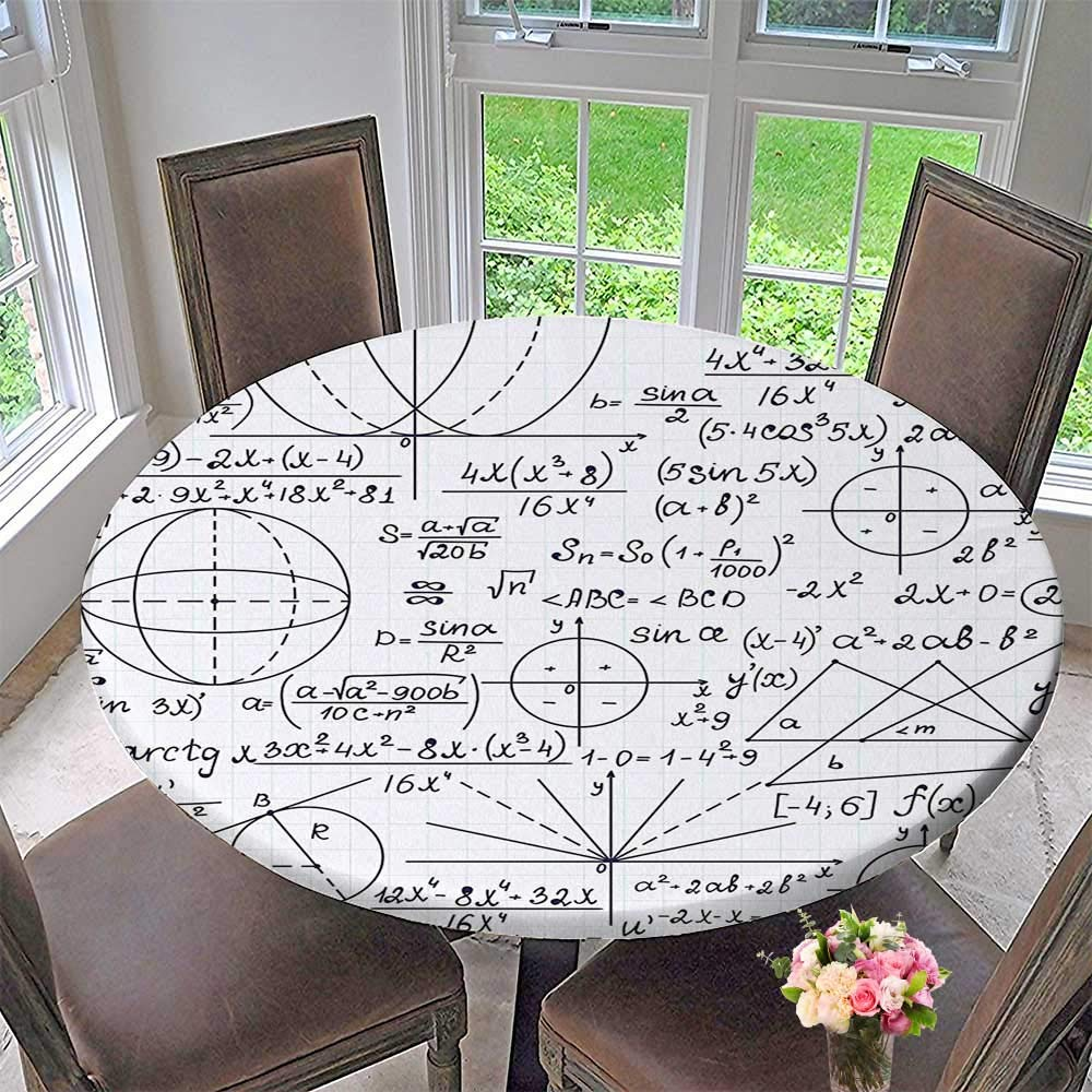 Elasticized Table Cover School Genius Bright Student Math Geometry Science Numbers Formules Black and White Machine Washable 43.5''-47.5'' Round (Elastic Edge)