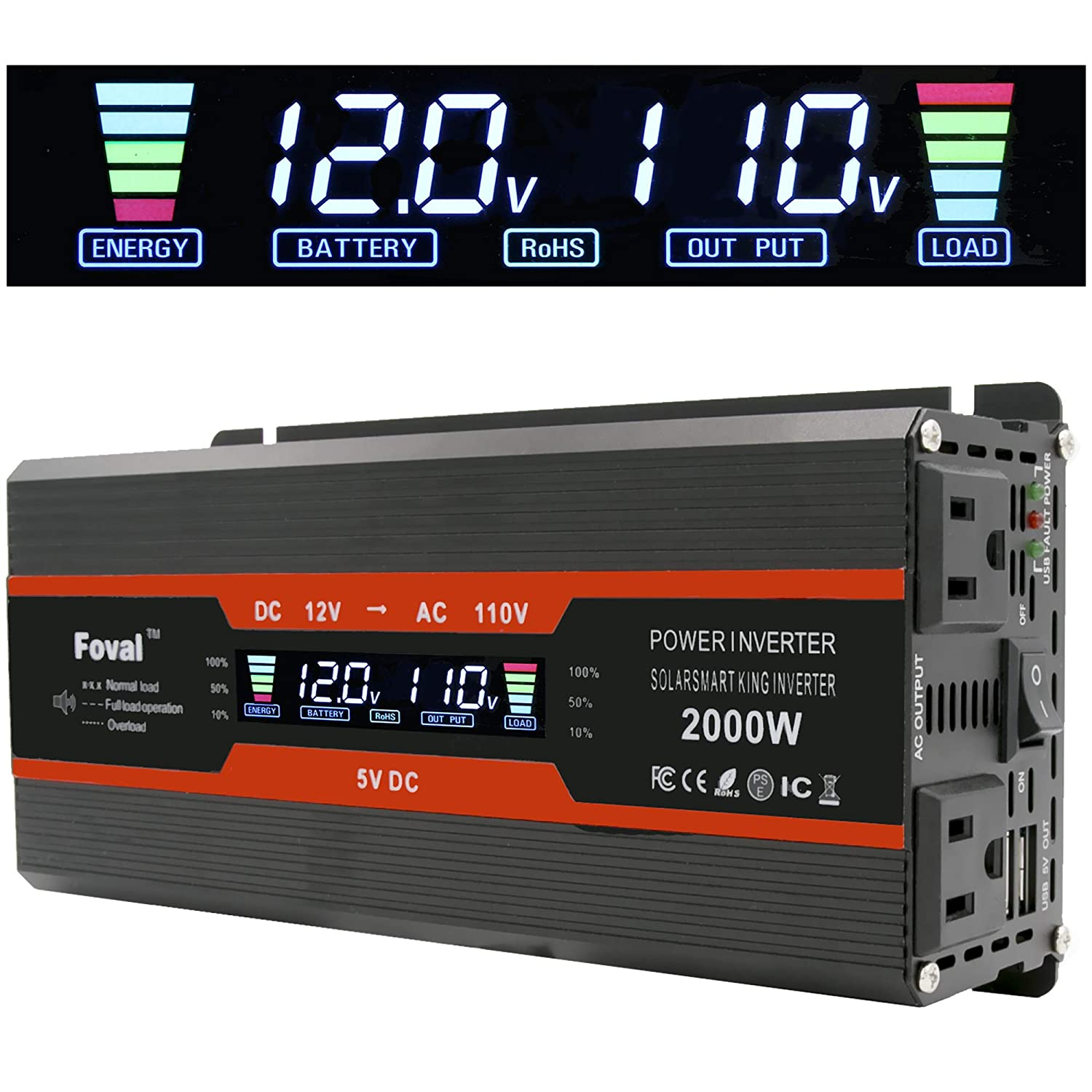 Cantonape 1000W/2000W(Peak) Car Power Inverter DC 12V to 110V AC Converter with LCD Display Dual AC Outlets and Dual USB Car Charger for Car Home Laptop Truck (Black)
