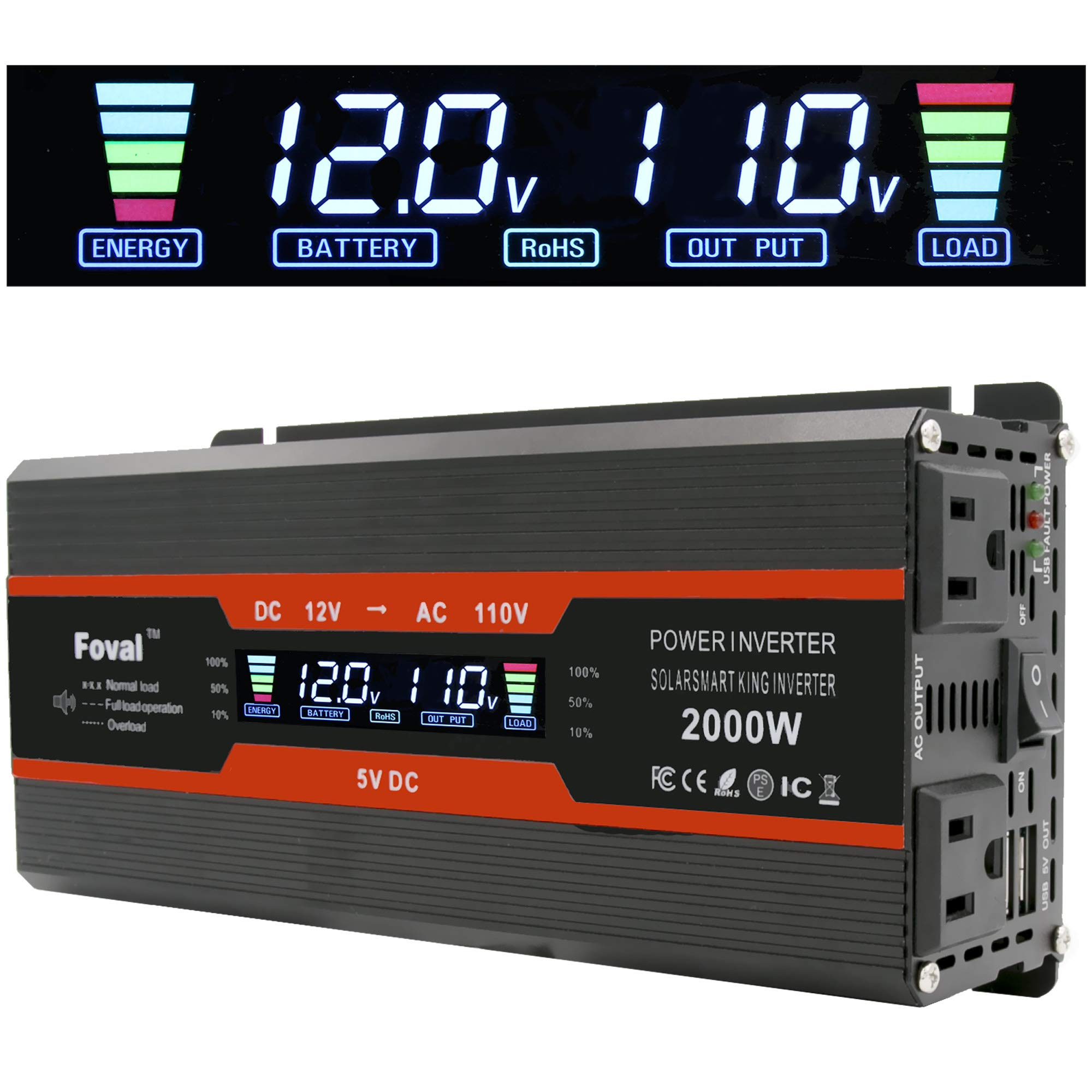Cantonape 1000W/2000W(Peak) Car Power Inverter DC 12V To 110V AC Converter With LCD Display Dual AC Outlets