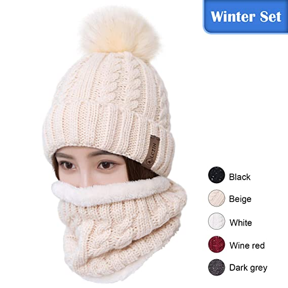 2ce494e89f1 LCZTN Womens Pom Beanie Hat Scarf Set Girls Cute Winter Ski Hat with Fleece  Lined  Amazon.ca  Clothing   Accessories