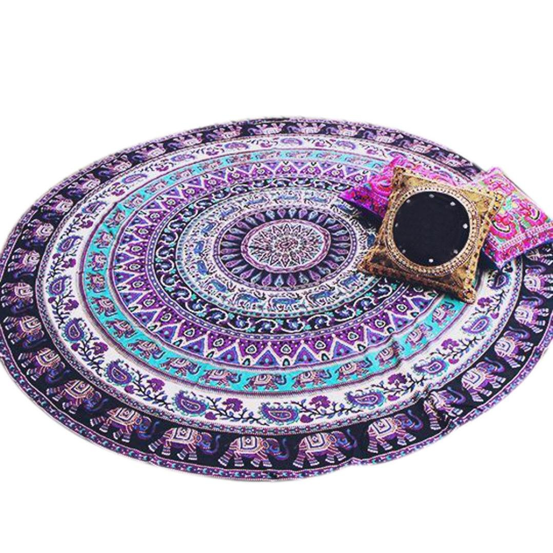 Start Round Purple Bohemian Totem Beach Home Blanket Yoga Mat