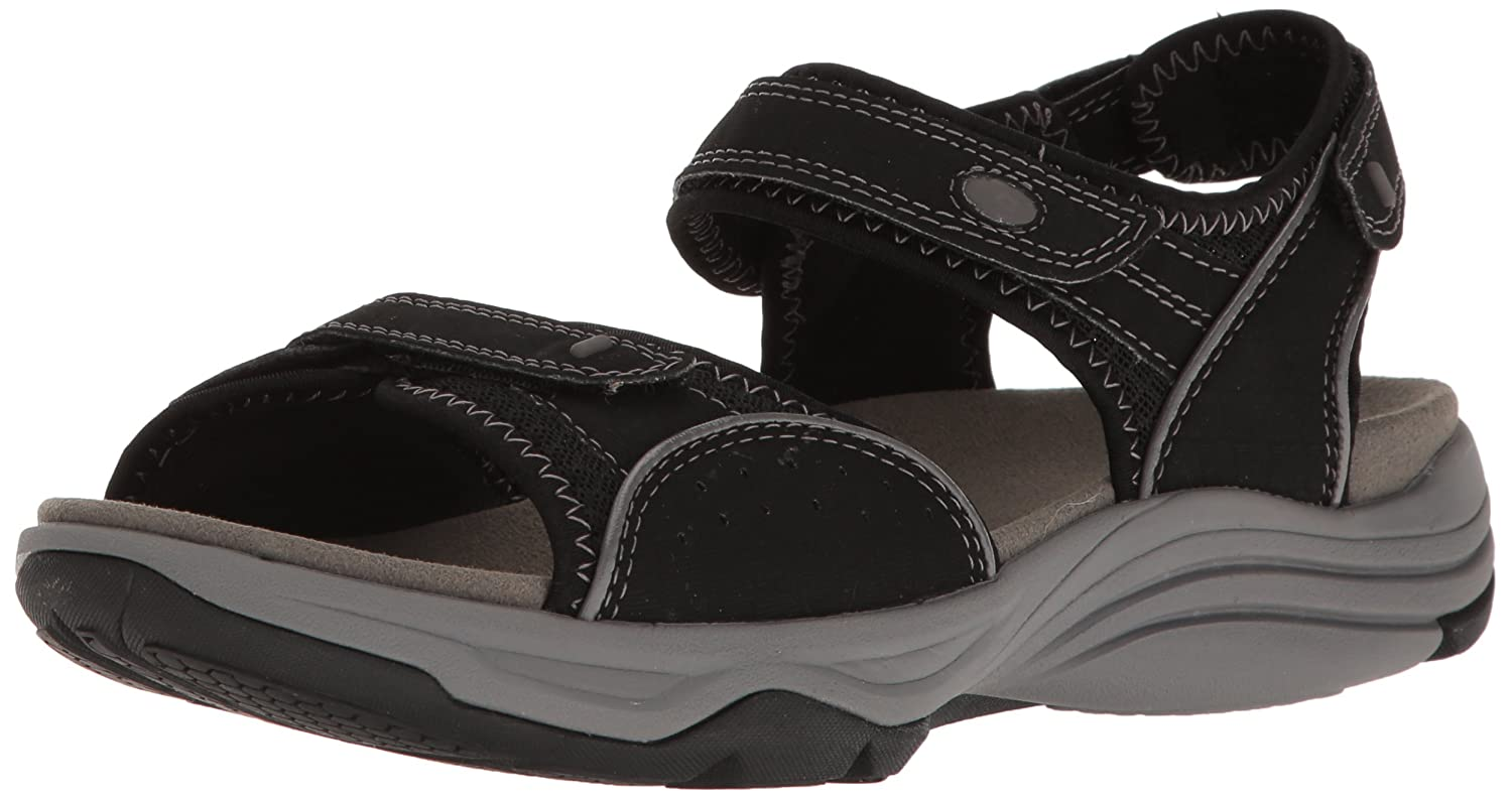 CLARKS Women's Wave Grip Sandal B01IAN85Z0 100 M US|Black Synthetic