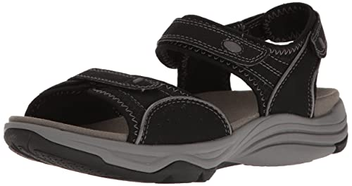 CLARKS Womens Wave Grip Black Synthetic Sandal (8.5 D US)