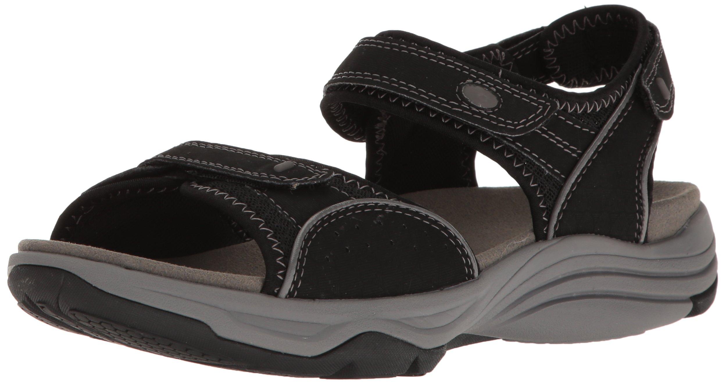 CLARKS Women's Wave Grip Black Synthetic Sandal (9 D US)