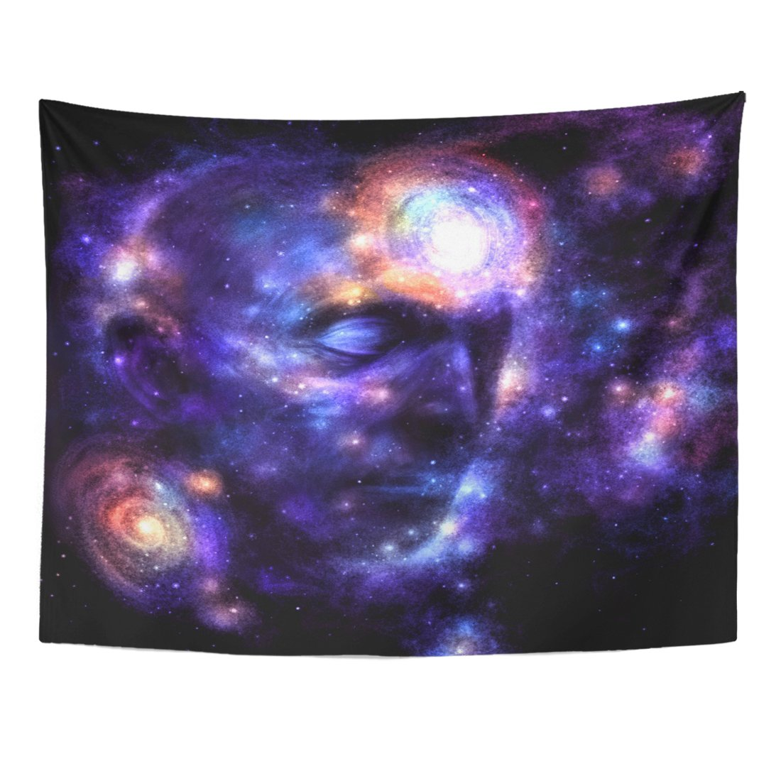 TOMPOP Tapestry Purple Yoga Human Head in Space Brain Power Meditation Galaxy Blue Paranormal Love Home Decor Wall Hanging for Living Room Bedroom Dorm 60x80 Inches