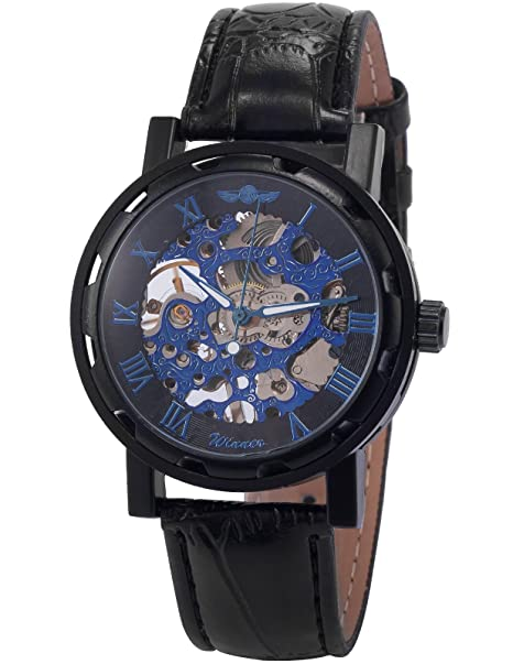 Amazon.com: HELMASK watch - Synthetic Leather Black Round man mens men boy Casual Analog Mechanical Hand-winding Wrist Watch: Watches