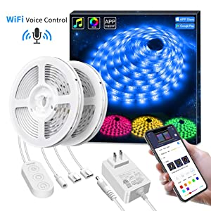 Govee 32.8ft LED Strip Lights Wireless Smart Phone APP Control Compatible with Alexa Google Assistant Light Strip Kits Non-Waterproof Music Sync RGB Tape Lights (Not Support 5G WiFi)