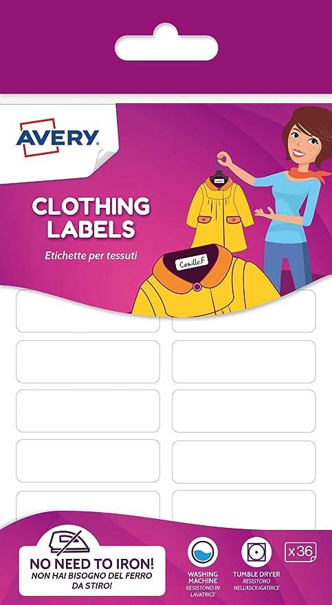 Avery España ETVET36-UK. Etiquetas para ropa sin plancha, 45x13mm ...